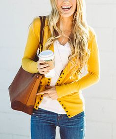 Another great find on #zulily! Mustard Snap Cardigan #zulilyfinds