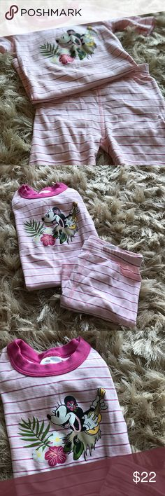 😴Hanna Anderson for Disney Girls Pajama Set😴 Adorable pink and white Hanna Anderson for Disney pajama set (size 6/7). Short sleeves and shorts are great for summer; Hanna Anderson quality means these are thick enough for spring and fall too. And the hula dancing Minnie Mouse makes these PJs extra special. EUC; only worn once. Hanna Andersson Pajamas Pajama Sets