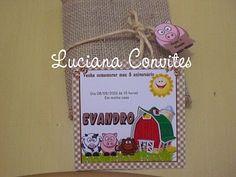 Luciana Convites Diferentes: CONVITE FAZENDINHA COM JUTA