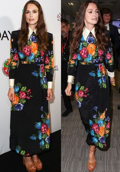 Keira arrived stylishly in one of Gucci's iconic floral dresses. The high end piece showed off Gucci's amazing tailoring skills, starting from the perfectly structured shoulders and pressed collar, down to the the neat cuffs.
