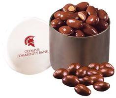 Designer Tin with Milk Chocolate Covered Almonds
