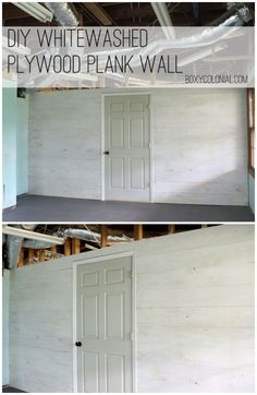 DIY Whitewashed Plank Wall from plywood.....easy and inexpensive project! by singram