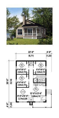 Narrow Lot House Plan 52785 | Total Living Area: 660 sq. ft., 3 bedrooms and 1 bathroom. #narrowlothome
