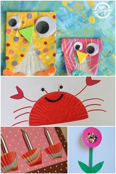 Lots of cupcake liner crafts for kids to make. These are so fun!