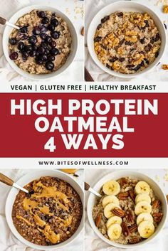 High Protein Oatmeal 4 Ways! These healthy oatmeal recipes have grams of pro… High Protein Oatmeal 4 Ways! These healthy oatmeal recipes have grams of protein, 2 servings of veggies and are gluten free and vegan! Easy to make and packed with flavor Healthy Oatmeal Recipes, Healthy Protein Snacks, High Protein Recipes, Healthy Breakfast Recipes, Healthy Drinks, High Protein Vegan Breakfast, Easy High Protein Meals, Protein Foods, Healthy Weight