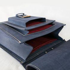 Blue leather backpack large 15.6 inch laptop bag от InBagWeTrust