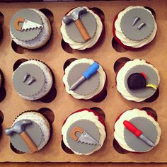 Handyman Cupcakes - Cupcakes for a Handyman/Tool buff's Birthday! Vanilla bean with oreo buttercream and red velvet with cream cheese all topped with hand crafted fondant and gum paste tool toppers :) Fondant Cupcakes, Cupcakes For Men, Fondant Toppers, Cute Cupcakes, Birthday Cupcakes, Cupcake Cookies, Cupcake Toppers, Fathers Day Cupcakes, Fathers Day Cake