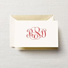 Engraved Parlor Sophisticate Monogram Note: A pop of color always adds just the right amount of moxie. For one's stationery, that means a vivid red ink on an ecruwhite note. Monogrammed and engraved for extra polish.