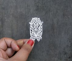 Geometric Insect Bug Papercut  Handcut miniature by Kalatirth