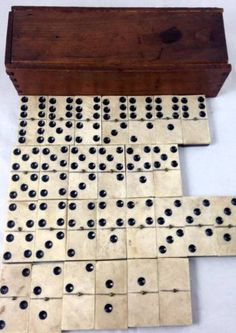 Bone /& Ebony Dominoes from around 1900 Antique Dominoes Set in Dovetailed Wooden Box