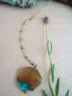 agate necklace, agate, boho, boho necklace, beaded chain necklace, green opal necklace, simple necklace, everyday necklace, layering by kathywelshart on Etsy