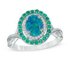 Simulated Oval Opal, Lab-Created Emerald and White Sapphire Frame Ring in Sterling Silver - Size 7 - View All Rings - Zales