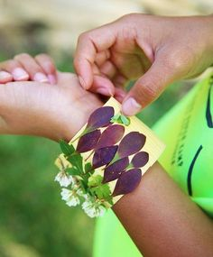 + Fun easy for kids: Nature Walk Bracelet! Use duct tape with the sticky side facing out and stick your treasures on as you go! So fun