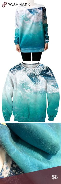 Sheflies Ocean Wave Sweater GUC. Pilling throughout. Attracts loose dog hairs like Velcro and will probably need a lint roller (I'll have a tough time getting it boxed up without picking up some hairs). From Shelfies site (shipped new in 20 days): Our sweaters are made of 100% polyester, with the inside feeling soft and fuzzy to keep you warm and cozy, while still being breathable. The prints will last you forever and never fade or peel. shelfies Tops Sweatshirts & Hoodies