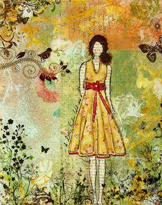 Little Birdie Inspirational Mixed Media Folk Art By Janelle Nichol Mixed Media  -