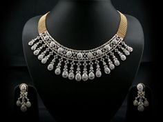 Gold Broad Mesh Chain Trendy Stylish Necklace With Combination Of Marquise, Princess, Tappers & Baguettes And Round Diamonds.