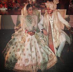 Bride in Sabyasachi, groom in Raghavendra Rathore (Desi Bridal Shaadi Indian Pakistani Wedding Mehndi Walima Lehenga / Indian Bridal Fashion, Indian Bridal Wear, Asian Bridal, Indian Wedding Outfits, Pakistani Bridal, Bridal Outfits, Bridal Lehenga, Indian Outfits, Bridal Dresses