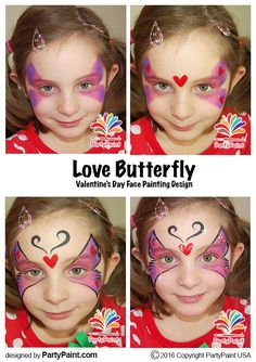 Love Butterfly Face Painting Design Idea for Valentine's Day