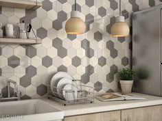 it may look even more spotty on a big space with dark and light hexagon tiles.  This pic with just tonal shades of grey gives you a good idea of what a Hexagon design could look like