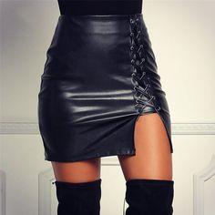 Faux Leather Pencil Mini A line PU Skirts Women Elegant Fashion Fitness Vintage Black Cross Back Bandage Women Clothing Skirt