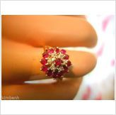 Just updated Vintage-Beautiful Edwardian Ruby & Diamond Cluster Ring & Earring Set $599.00