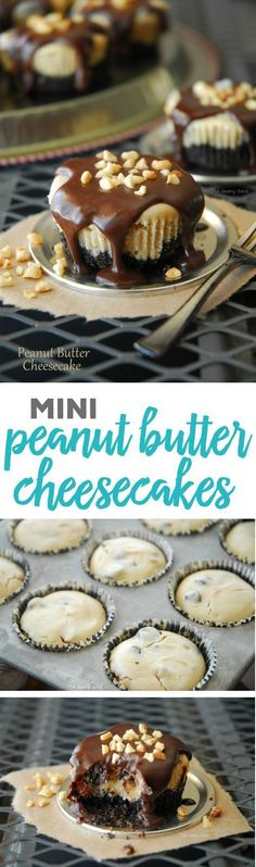 Mini+Peanut+Butter+Cheesecakes+Individual+Servings+Recipe+via+the+Gunny+Sack+-+These+mini+peanut+butter+cheesecakes+drizzled+with+chocolate+and+sprinkled+with+chopped+peanuts+are+a+lot+of+goodness+packed+into+a+muffin+sized+dessert!+With+a+peanut+butter+Oreo+crust,+this+easy+cheesecake+recipe+is+delicious+from+top+to+bottom.