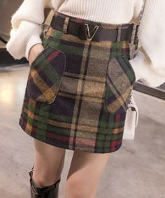 EC04378 Plaid autumn and winter woolen thick skirt for women