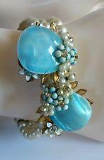 Vintage De Mario Haskell Style White Pearl Blue Shell Gold Rhinestone Bracelet