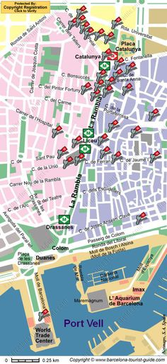 location map for the la rambla in barcelona spain
