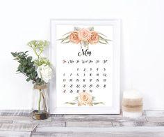 printable wall calendar 2018 12 month poster druckbare wandkunst digital prints. Black Bedroom Furniture Sets. Home Design Ideas