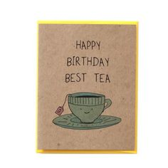 Say happy Birthday to your best tea with this ultra cute teacup birthday card. Card is printed on recycled kraft cardstock and comes with a bright yellow envelope (also recycled). Design is (Best Birthday Cards) Best Friend Birthday Cards, Cute Birthday Cards, Bday Cards, Handmade Birthday Cards, Best Friend Cards, Diy Cards For Friends, Birthday Wishes, Birthday Greetings, Birthday Gifts