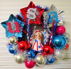 Vintage USA Patriotic Wreath with Cute Lefton Betsy Ross Summer Crafts, Holiday Crafts, Holiday Fun, Summer Fun, Patriotic Wreath, 4th Of July Wreath, 4th July Crafts, 4th Of July Decorations, American Decor