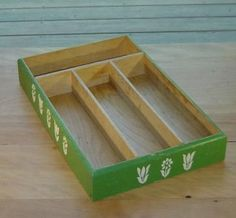 Kitchen Ware: Green Painted Wood Utensil Box Vintage Kitchen Collectibles on Ruby Lane Sale Priced $26.00