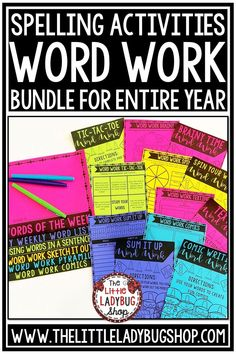 You will love using this packet of Word Work Activities for your Spelling lists, or Vocabulary Activities programs. Easily fits in Literacy Centers, Center small group, or spelling homework activities! Word Work activities for any lists. Perfect for 2nd grade, 3rd grade, 4th grade, and home school classroom. #wordworkactivities #wordworkworksheets #spellingactivities
