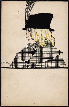 Hat Fashion (1912) by Maria Likarz. This postcard was produced by the Wienner Werkstadtte.