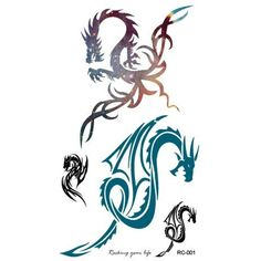 Body Art Temporary Removable Tattoo Stickers Dragon - RC2001 Sticker Tattoo - FashionDancing >>> Click image for more details. (This is an affiliate link) #Makeup