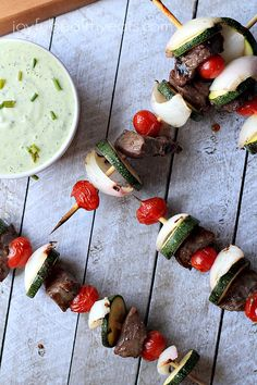 One of my favorite Grilling Recipes done in 30 minutes! Beef Kabobs filled with fresh vegetables and served with an Avocado Cucumber Tzatziki | joyfulhealthyeats.com #recipes