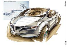 2011年 多摩美術大学大学院在籍時にプロダクトコースの林田直澄が描いたカーデザインのレンダリングの一部です。