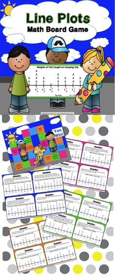 Line Plots game contains 30 line plots game cards and a game board to help students practice solving one and two-step problems using data presented in line plots with whole, half, and quarter units (3.MD.B.4). This game works great as a pair/group activity, or for use in math centers.