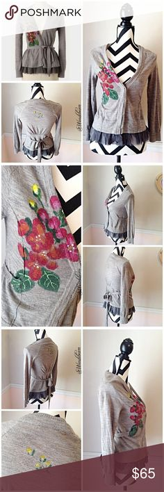 Rare Knitted & Knotted Hand-Painted Floral Sweater Ultra Rare Anthro Knitted & Knotted HAND-PAINTED Floral Grey Sweater. Used, Good Condition. One of my all time favorite sweaters so yes it was worn often. Still has a lot of life left. No stains, No rips, No holes. Little to no pilling. Some fraying on polyester hem... Trim was bought with an un-hem look. Feel free to ask questions. Measurements upon request. 🚫NO TRADES🚫 Anthropologie Sweaters Cardigans