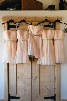 Donna Morgan peach dresses + gold belts