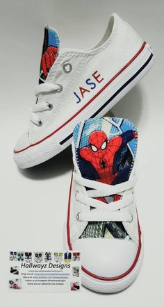 Spiderman birthday converse shoes white sneakers kids birthday party superhero kicks matching shirt sold separately by hallwayzdesigns - Cohen Baby Name - Ideas of Cohen Baby Name - Spiderman birthday converse shoes white sneakers kids Spiderman Birthday Cake, Superhero Birthday Party, Boy Birthday Parties, Birthday Shirts, 4th Birthday, White Converse Shoes, White Sneakers, Converse Chuck, Custom Converse