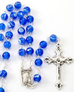 CATHOLIC PRAYER ROSARY CAPPED BLACK BLUE BEADS MARY LOURDES CRUCIFIX BOOKLET