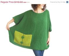 ON SALE Plus Size - Over Size Sweater Dark Green - Light Green Hand Knitted Sweater with Pocket Tunic - Sweater Dress by Afra