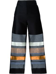 Copper stripes to die for.  Shop Erika Cavallini Semi Couture organza sheer stripe trousers in Gaudenzi from the world's best independent boutiques at farfetch.com. Shop 300 boutiques at one address.