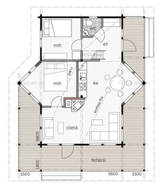 Helmi 56 / Kontio One Room Apartment, Apartments, House Plans, Helmet, Floor Plans, How To Plan, Garden, Decor, Architecture