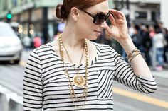 Rock n Roll chic - Fall Fashion, stripes & gold vintage statement jewelry Chic Fall Fashion, Statement Jewelry, Types Of Shirts, San Francisco, Stripes, Street Style, Rock, Prints, Vintage