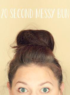 20 Second Messy Bun Tutorial