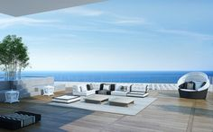 Upscale penthouse outdoor design ideas with vocal wide ranged seaviews pools stylish furnitures wooden flooring Outdoor Lounge, Outdoor Spaces, Outdoor Living, Outdoor Decor, Home Design Decor, House Design, Interior Design, Design Ideas, Kb Homes