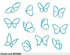 Vector of 'Butterflies silhouettes for symbols, icons and tattoos design' - Good butterfly tattoo shape inspiration Easy Butterfly Drawing, Simple Butterfly Tattoo, Butterfly Outline, Butterfly Sketch, Butterfly Clip Art, Butterfly Illustration, Butterfly Tattoos, Butterfly Tattoo Meaning, Cartoon Butterfly